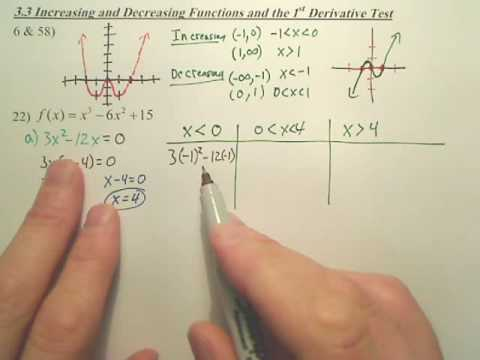 3.3a2 Increasing & Decreasing Functions and the 1st Derivative Test - Calculus