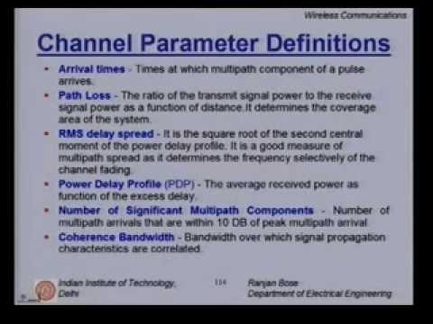 Lecture 17 - Mobile Radio Propagation II Contd