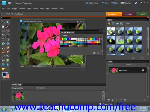 Photoshop Elements 9.0 Tutorial Selecting Colors with the Swatches Panel Adobe Training Lesson 5.7