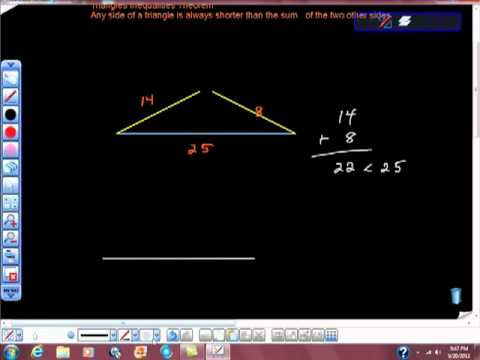 GRE MATH PREP TRIANGLE INEQUALITIES THEOREM high school geometry
