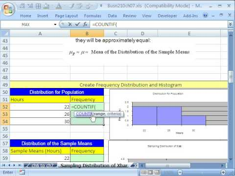 Excel Statistics 76: Sampling Distribution Of Sample Mean & Central Limit Theorem