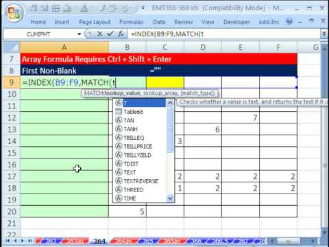 Excel Magic Trick 364: Return First Non-Blank (Array Formula)
