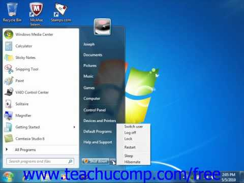 Windows 7 Tutorial Shutting Down Windows Microsoft Training Lesson 1.7