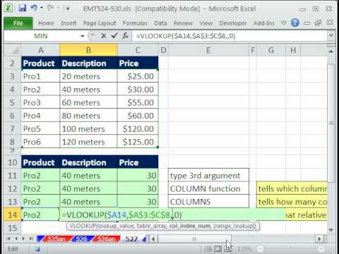Excel Magic Trick 527: VLOOKUP 3rd Argument 4 Methods: Number, COLUMN, COLUMNS, MATCH