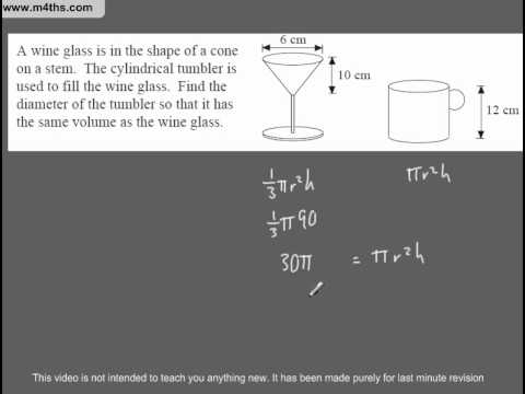 (Q209) A Star GCSE Revision Questions volume of cylinder and cone