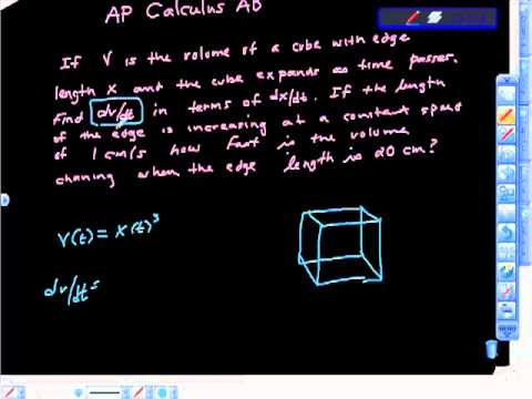 AP Calculus AB Related Rates Problem Cube Edge Volume