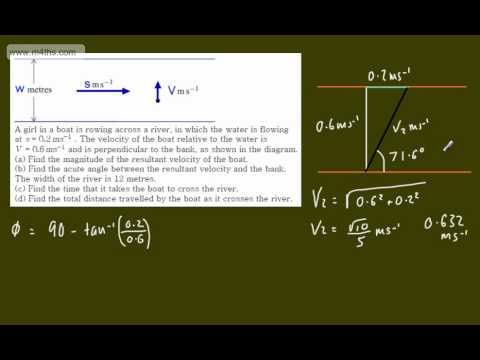 (7) M1 Exam Questions - Vectors - Riverboat problem - resultant velocities