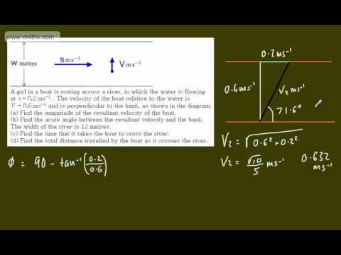 (7) M1 Exam Questions - Vectors - Riverboat problem - resultant velocities