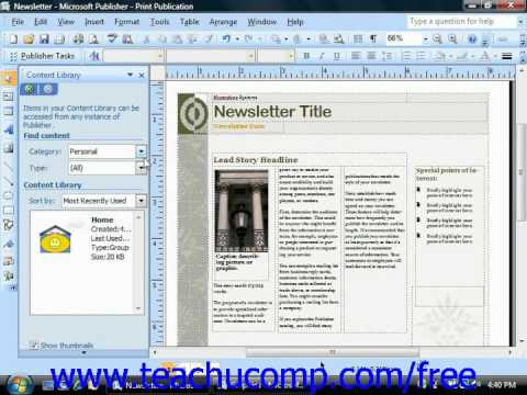 Publisher 2003 Tutorial Using the Content Library 2007 Microsoft Training Lesson 9.5