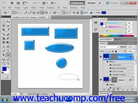 Photoshop CS5 Tutorial Using the Shape Tools Adobe Training Lesson 12.3