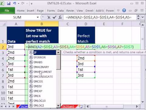Excel Magic Trick 635: Find Perfect Match In Column Using IF & AND functions