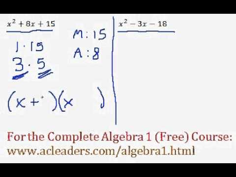 (Algebra 1) Polynomials - Factoring Trinomials Questions #3-4