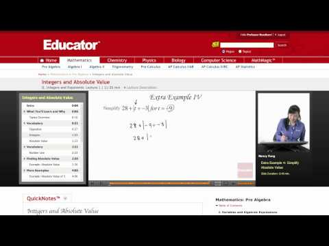 Pre Algebra: Integers and Absolute Value