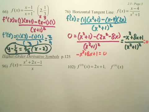2.3c Product and Quotient Rules and Higher Order Derivatives - Calculus