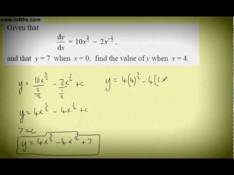 (6) Core 1 Integration (finding the constant of integration part 2 harder examples)