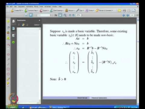 Mod-09 Lec-33 Optimality Conditions and Simplex Tableau