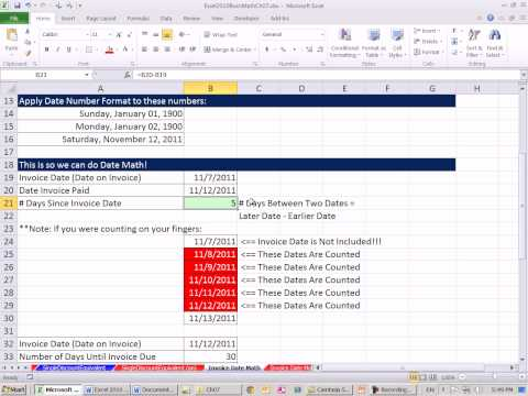 Excel 2010 Business Math 63: Date Math For Invoices