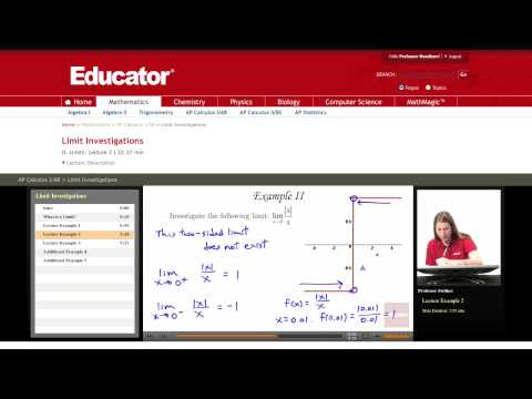 Calculus: Limit Investigations (Two Sided Limit)
