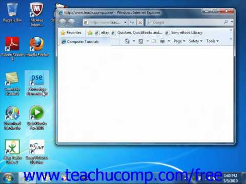 Windows 7 Tutorial The Windows Environment Microsoft Training Lesson 1.2