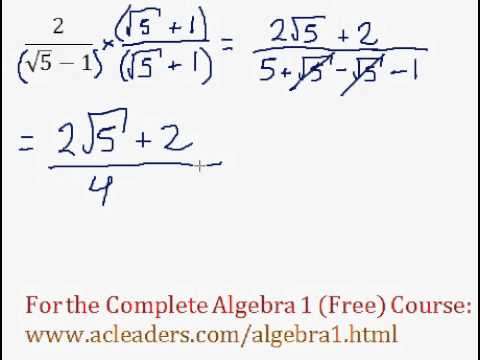 (Algebra 1) Radicals - Dividing Radicals & Rationalizing #10