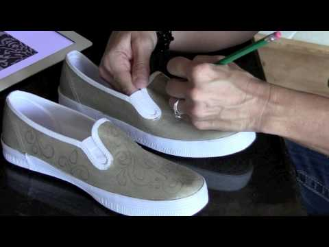 Damask Painted Shoe Project