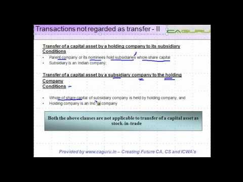 Income from Capital Gains -  Transactions not regarded as transfer - II