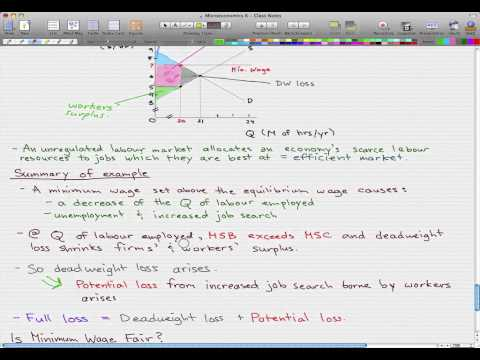 Microeconomics - 85: Inefficiency of Minimum Wage