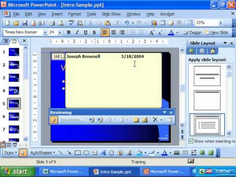 PowerPoint 2003 Tutorial Inserting Comments Microsoft Training Lesson 8.5