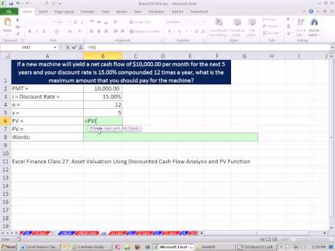 Excel Finance Class 34: Present Value Of Annuity For Asset Valuation