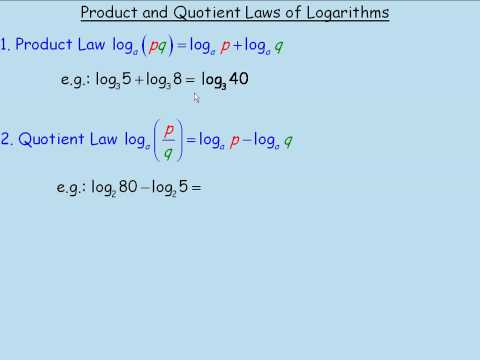 Product and Quotient Laws of Logarithms Part1