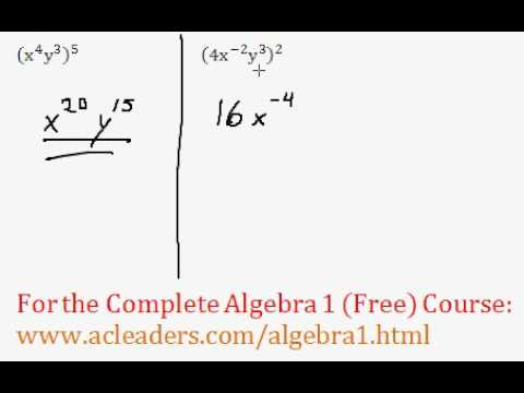 (Algebra 1) Exponents - Power Rule Questions #5-6