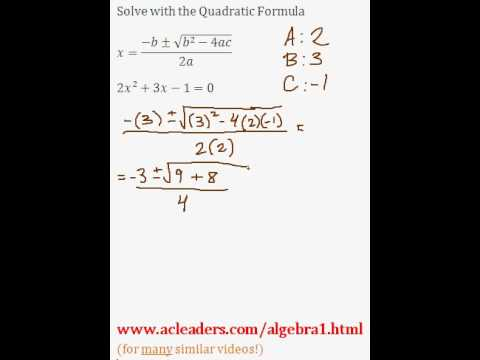 Quadratic Formula - Solving for 'x' in a trinomial expression. EASY!!! (pt. 3)