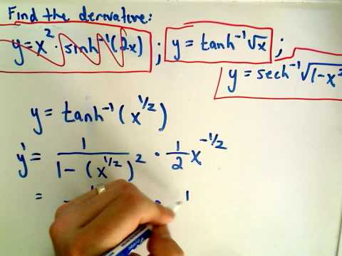 Inverse Hyperbolic Functions - Derivatives