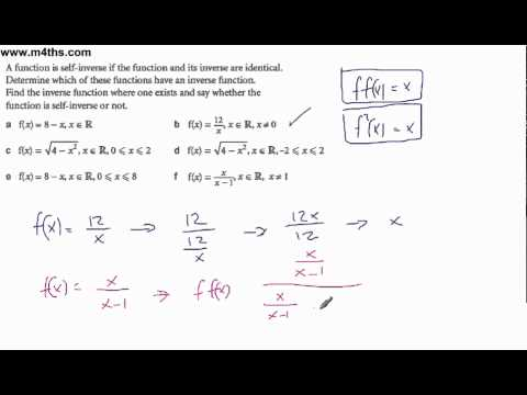 Core 3 Functions - Self Inverse functions - basic examples