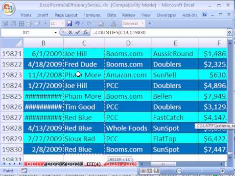 Excel Formula Efficiency 4: SUMIFS & COUNTIFS Are Fast
