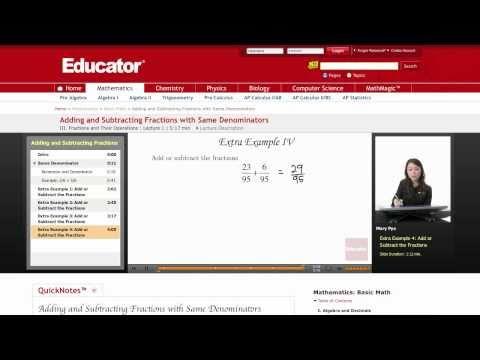 Basic Math: Adding and Subtracting with Same Denominators