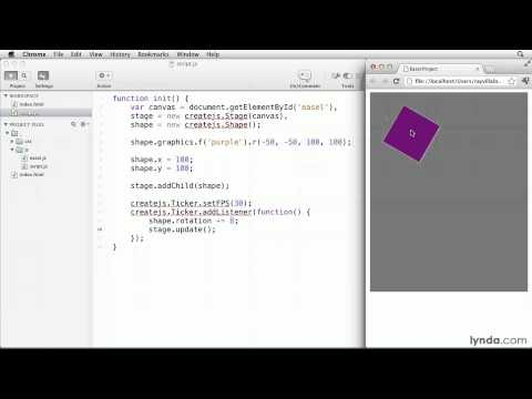 EaselJS tutorial: Transforming and animating Shapes | lynda.com