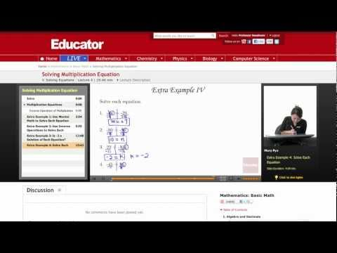 Basic Math: Solving Multiplication Equations
