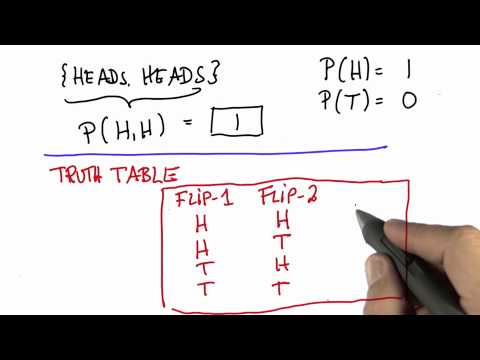Two Flips 5 Solution - Intro to Statistics - Probability - Udacity