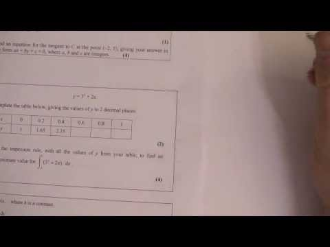 Trapezium Rule exam style question C2 AS maths Integration