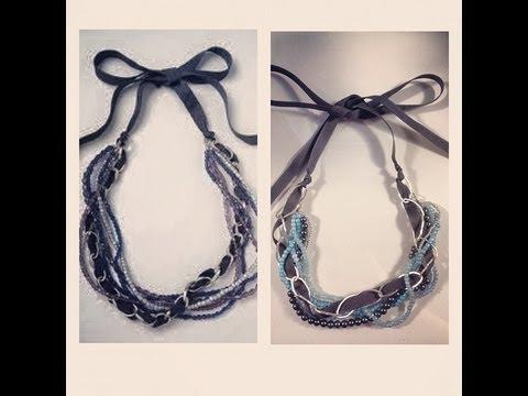 DIY: Bead, Chain & Ribbon Necklace