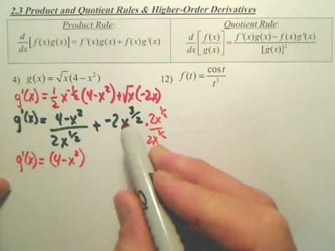 2.3a Product and Quotient Rules and Higher Order Derivatives - Calculus