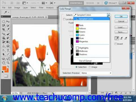 Photoshop CS5 Tutorial Selecting by Color Range Adobe Training Lesson 7.8