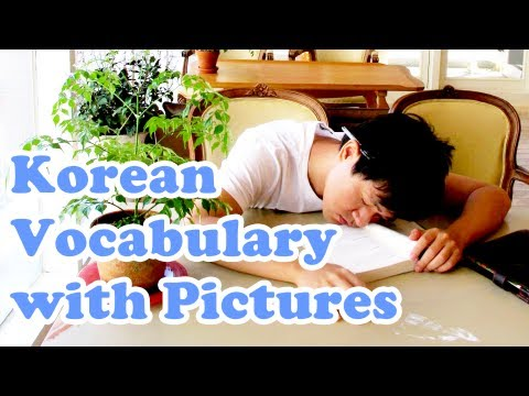 Korean Vocabulary with Pictures - #1 (Pillar, Arm, Sleep, Nose, Planner)