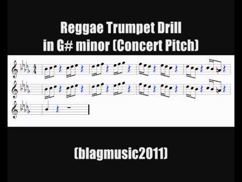 Reggae Trumpet Scales: Drill in G# minor (Bb minor) with backing track and notation