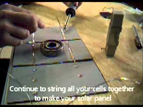 How to make solar panels Part 5. Stringing the tabbed  solar cells together
