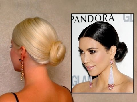 Kim Kardashian bun hair tutorail: elegant wedding updo hairstyle for long hair classic how to