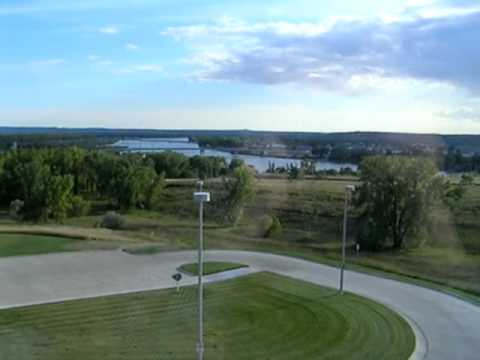 The Missouri River flowing through Bismarck, North Dakota