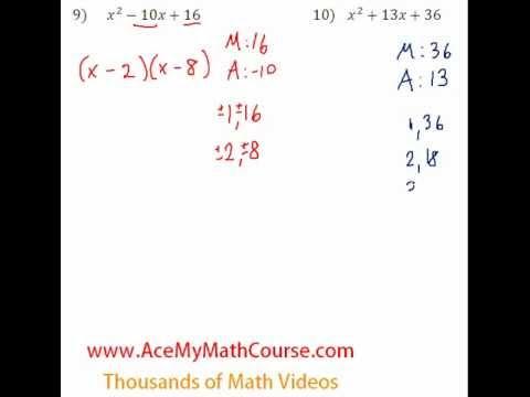 Polynomials - Factoring Trinomials Question #10