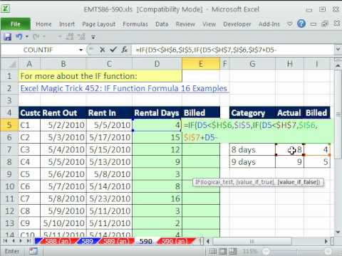 Excel Magic Trick 590: Nested IF function Convert From Actual Days to Billed Days